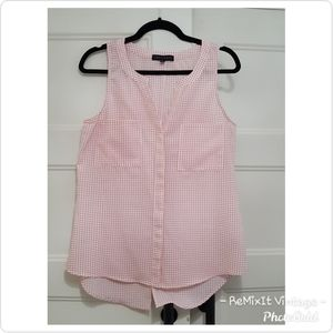 Sanctuary Brand Pink Checkered Sleeveless Blouse